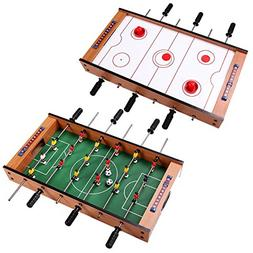2 in 1 Air Hockey Foosball Game Table Rotating Competitive M