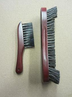 "10.5"" Cherry Horse Hair Pool Table Brush & Rail Brush Combo"
