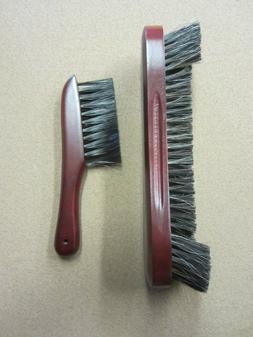 "10.5"" Walnut Horse Hair Pool Table Brush & Rail Brush Combo"