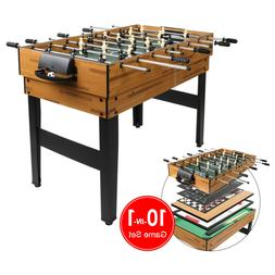 10-in-1 Game Table w/Foosball, Pool, Chess, Bowling, Push-Ho