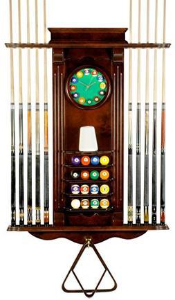 10 Pool Cue Stick Billiard Wall Rack W/ Clock Mahogany Finis