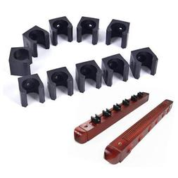 10PC Billiards Cue Rack Pool Stick Holder Clamp Wall Mount H