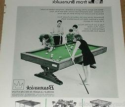 1968 Brunswick Pool Table advertisement, billiard table, car