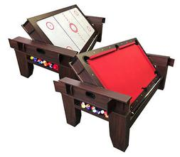 2 in 1 - 7Ft Red Pool Table Billiard become an Air Hockey Ta