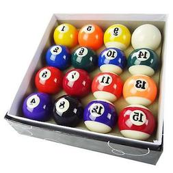 "2"" Pool Table Billiard Ball Set, Complete 16 Ball Set, Small"