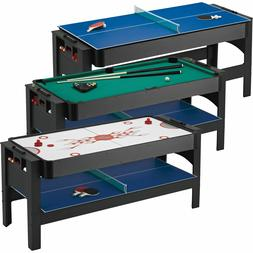 3-in-1  6' Pool Billiard, Tennis and Air Hockey Flip Top Gam