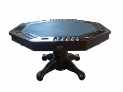 """3 in 1 SLATE BUMPER POOL, POKER & DINING TABLE - 48"""" OCTAGON"""