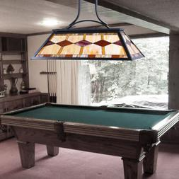 3-Light Pool Table Tiffany Style Hanging Fixture Steel Const