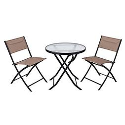 Giantex 3 Piece Table Chair Set Metal Tempered Glass Folding