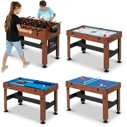 """54"""" 4-in-1 Combo Billiards Pool Table Ping Pong Slide Hockey"""
