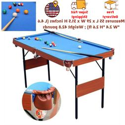 """HLC 55"""" Folding Space Saver Pool Billiard Table Indoor Game"""