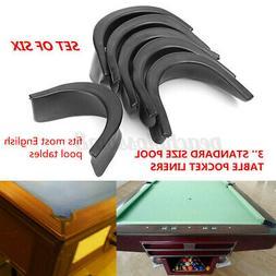 6Pcs Set Black Pool Table Rubber Pocket Liners Protector Bil