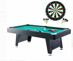 "7 Foot Billiards Pool Table Set 84"" w/ Cue Sticks, Balls Bon"