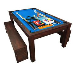 7Ft Pool Table Billiard Blue became a dinner table with benc