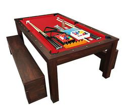 7Ft Pool Table Billiard Red become a dinner table with bench