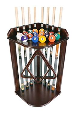 Iszy Billiards 8 Pool Cue Stick and Billiard Ball Floor Rack