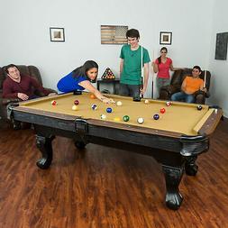 "87"" Pool Table Billiard Set Light Cues Balls Chalk Triangle"