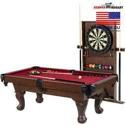 "Barrington 90"" Ball and Claw Leg Pool Table, Cue Rack, Dartb"