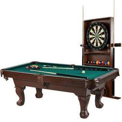 Billiard Pool Table w/ Cue Rack Accessories Dartboard Play S