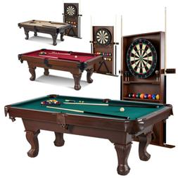 90 Inch Billiard Table w/ Dartboard Indoor Game Set Pool Cue