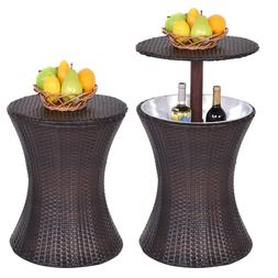 Adjustable Outdoor Patio Rattan Ice Cooler Cool Bar Table Pa