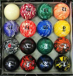 "Art # Marble Swirl Pool Table Billiard Ball Set - 2 1/4""  Re"