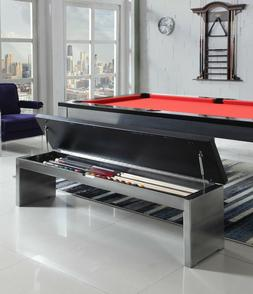 BENCH for Playcraft Monaco Slate Pool Tables, Black on Silve