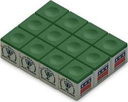 Silver Cup Billiard/Pool Cue Chalk Box, Green, 12 Cubes
