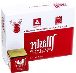 Master Billiard/Pool Cue Chalk Box, 12 Cubes, Gold