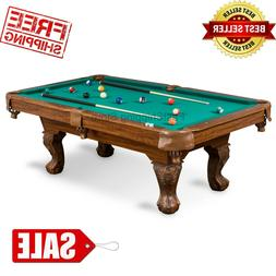 Billiard Pool Table Tan Cloth Complete Set Wood Cues Balls C