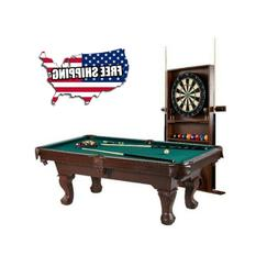 Billiard Pool Table w/ Cue Rack Accessories Dartboard Play S