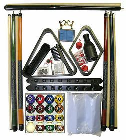Black Finish Billiard Pool Table Accessory Kit W Dark Marble