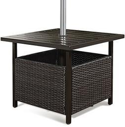 Brown Rattan Wicker Steel Side Table Outdoor Furniture Deck