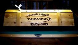 Bud Light Pool Table Light Cue Rack Combo w/ YOUR NAME man c