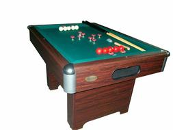 BASIC BUMPER POOL TABLE w/ CUES & BALLS & SLATE BED in WALNU