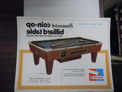 Vintage Brunswick Coin-op Pool Table 8x10 Advertising Sheet