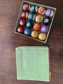 """Complete Antique Pool Table 2 1/4"""" Ball Set with Hyatt Box"""