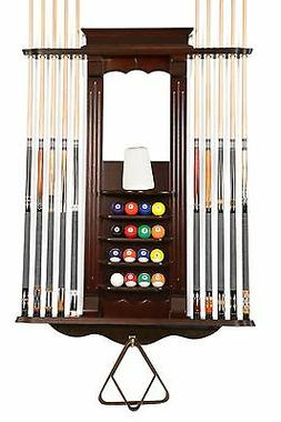 Cue Rack Only- 10 Pool - Billiard Stick & Ball Wall Rack Cho