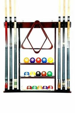 Cue Rack Only- 6 Pool Billiard Stick + Ball Set Wall Rack Ho