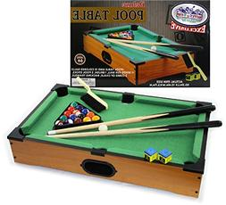 Matty's Toy Stop Deluxe Wooden Mini Table Top Pool  Table wi