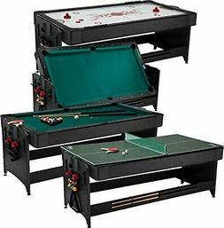 Fat Cat Pockey 7' Black 3-in-1 Air Hockey, Billiards, and Ta