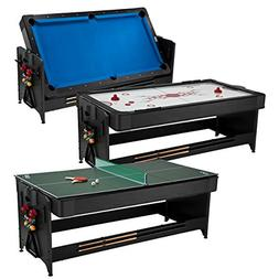 Fat Cat Pockey 7ft Black 3-in-1 Air Hockey, Billiards, and T
