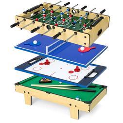 Game Table Set 4-in-1 Pool Billiards Hockey Foosball Tennis