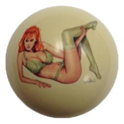 Green Lace Girl Cue Ball Custom for Pool Players by D&L Bill