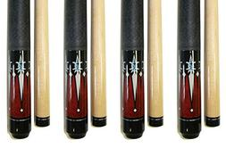 "Lot of 4-58"" 2 Piece Hardwood Canadian Maple Pool Cue Billia"