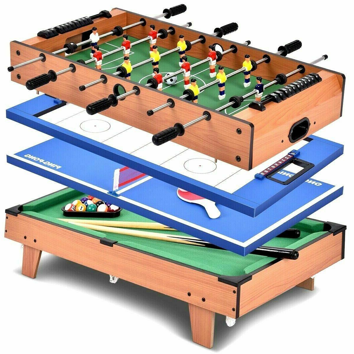 4 in 1 Multi Game Swivel Table Set Billiards/Pool, Foosball,