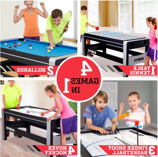 4-in-1 Swivel Combo Game Table Hockey Billiards Table Tennis