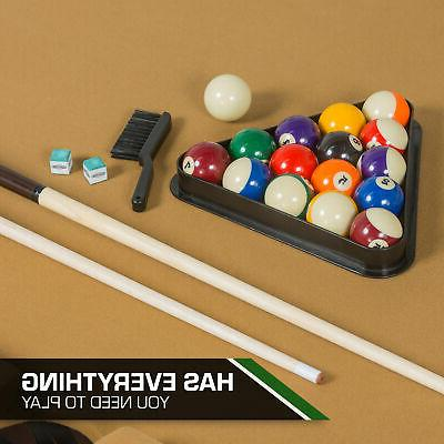 "87"" Pool Table Billiard Set Cues Chalk Triangle"