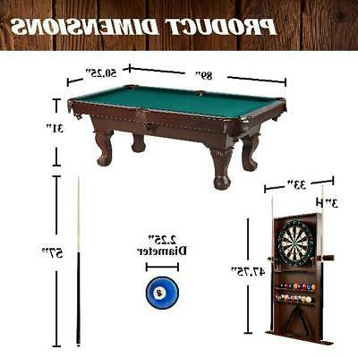 Billiard Pool Table w/ Cue Play Set Green