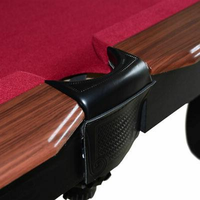 Lancaster Gaming Company 90 Inch Classic Pool Table w/ 2 Cues, Burgundy